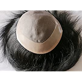 8×10 100% Human Hair MONO Base PU around Toupee Hair Replacement Hair Piece Wig Dark Black (color 1)