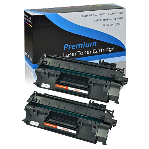 KCMYTONER 2 Pack Compatible HP CE505 X 05X High Yield Laser Toner Cartridge Black 6, 900 Yield for HP Laserjet Pro 400 M401n M401dne M401dw MFP M425dn P2055 P2055dn P2055D P2055X Series Printers