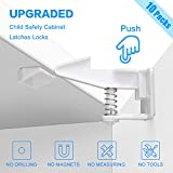 Baby Child Safety Cabinet Locks, Easy to Install, No Tools or Drilling Needed, Invisible and Safe Design,10 Packs - White