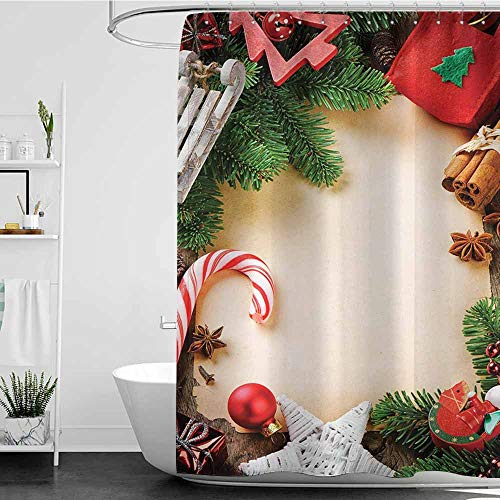 Tim1Beve Womens Shower Curtain,Christmas Assortment of Festive Ornaments Cinnamon Stick Star Anise Candy Cane Toy Sledge,Fashionable Pattern,W60x72L Multicolor