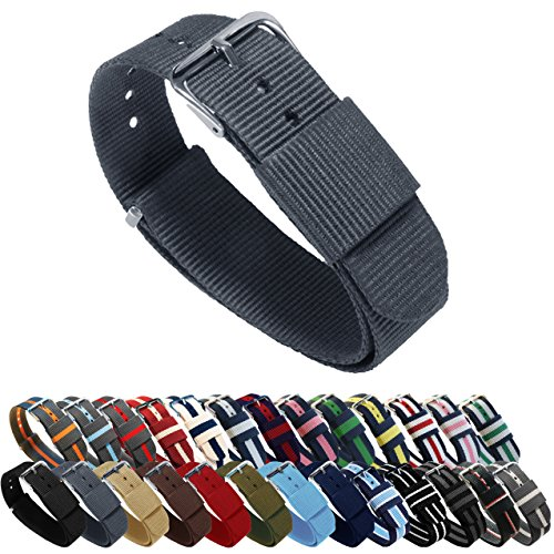 BARTON Watch Bands - Choice of Color, Length & Width (18mm, 20mm, 22mm or 24mm) - Smoke 22mm - 'Long' Version