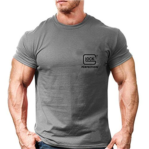 CyberDyer Glock T-Shirt Short Sleeve Shirt Tactical Cotton Comfortable Classic T-Shirt for Outdoor Training Club (Grey, S4/Height:70.8