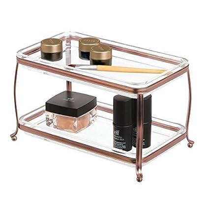 mDesign Organizador de cosméticos tradicional, también como caja para joyas – Caja para maquillaje y