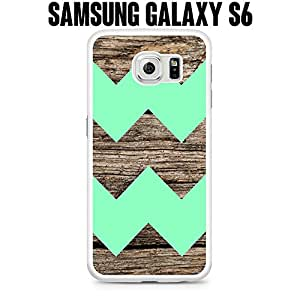 Phone Case Wood Design With Mint Colored Chevron for Samsung Galaxy S6 EDGE SM-G925 Rubber White (Ships from CA)