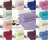 Voice7 EASY CARE Non-Iron Plain Sheets Set (Fitted Sheet + Flat Sheet + Pair of Pillowcases) ~ SUPER POLYCOTTON ~ 20 COLORS & UK SIZES (Double, Cream)