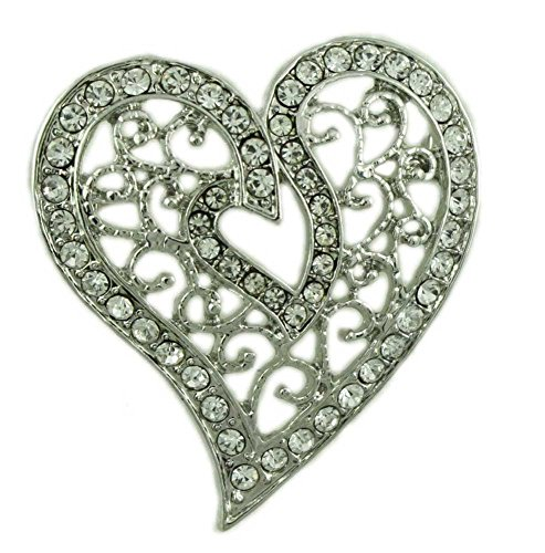 Lilylin Designs Silver-Tone Filigree Crystal Heart Brooch Pin