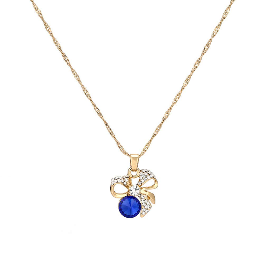Mkxiaowei Womens Crystal Necklace Earrings Set Alloy Chain with Drill Hundred Short Crystal Necklace Pendant Collarbone Chain Womans Gift