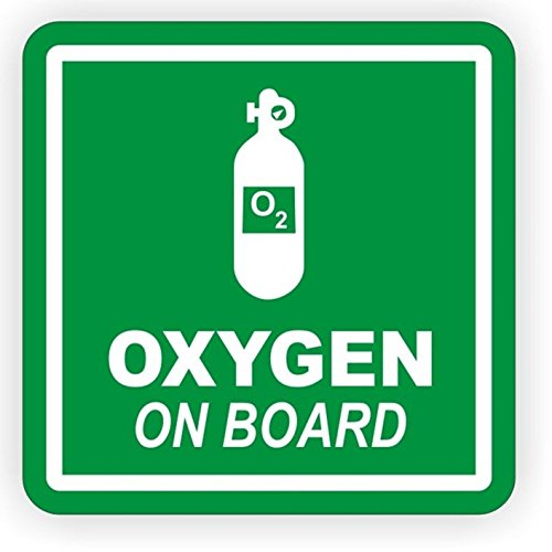 1 PC Impassioned Unique Oxygen on Board Window Sticker Sign Mac Apple Macbook Laptop Luggage Hoverboard Wall Graphics Label Decal Decor Vinyl Art Stickers Patches Decals Size 2'x2' Color White-Green