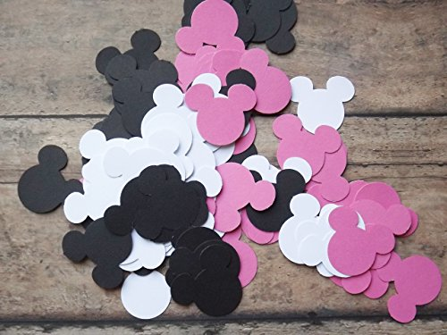 Pink Black and White Mickey Minnie Mouse Paper Party Confetti Decoration 1 Inch 450 Pieces]()