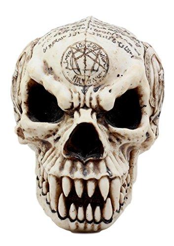 "Atlantic Collectibles Satanic Pentagram Werewolf Skull Figurine 7.25""L Pentacle Dragon Tattoo Symbols Lycan Skeleton Sculpture"