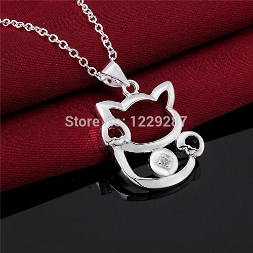 Kiss Love N591 925 Silver Necklace For Women Kitty Cat Pendant Necklace 18Inch