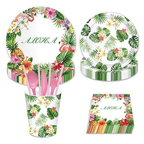 (LJCL Hawaiian Luau Aloha Party Supplies,Serves 16,Flamingo Aloha Pineapple Party Bundle 9