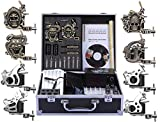 Shark Complete Pro Tattoo Kit 8 Gun Machines Carry Case With Key Power Supply 50 Needles 8 Grips Tips