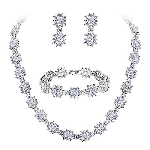 BriLove Wedding Bridal CZ Necklace Bracelet Earrings Jewelry Set for Women Multi Emerald Cut Halo Collar Necklace Tennis Bracelet Dangle Earrings Set Clear Silver-Tone April Birthstone