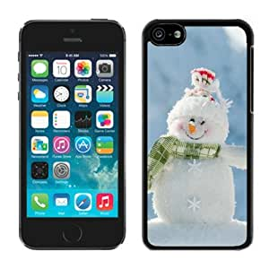 Customized Design Iphone 5C TPU Rubber Protective Skin Happily Smile Snowman Black iPhone 5C Case 1