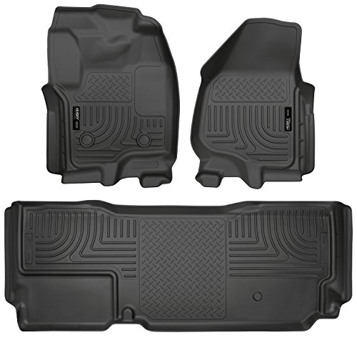 (Husky Liners Front & 2nd Seat Floor Liners Fits 12-16 F250 SuperCab w/ foot rest)