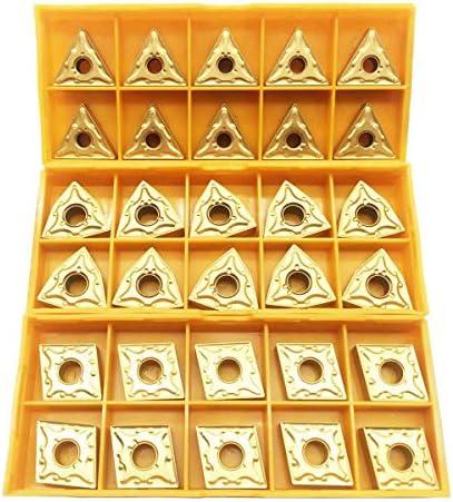 Noblik 30PCS CNMG 431 + WNMG 431 + TNMG 331 CNC-Drehmaschine Wendeschneidplatte Aus Massivem Hartmetall für Drehwerkzeughalter Zum Veredeln Von Stahl