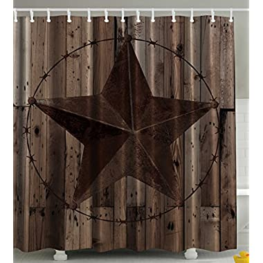 Western Decor Southwestern Primitive Shower Curtain Barbwire Star in Wooden Plank Home Decorations and Fashion Design Decor Bathroom Gifts for Man Cave Men Fabric Shower Curtain Brown