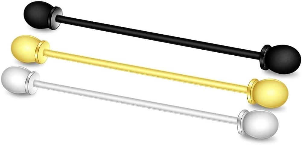 MERIT OCEAN 3 Pcs Collar Bar Pin Set Mens Tone Steel Tie Collar Bar Pin Stud Bar Clip Clasp Brooch 6CM Silver, Gold,Black