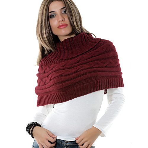 Collo Dolcevita Bordeaux Coprispalle Bolero Poncho 0430 As Sciarpa Cappa Donna Tricot qwSpH