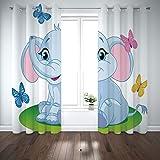 Best Warner Bros. In Babies - SCOCICI Grommet Satin Window Curtains Drapes [ Nursery,Cute Review