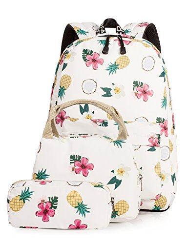 School Bookbag for Girls, 14 Inch Laptop Backpack Insulated Lunch Bag Pencil Case by Leaper (Beige)
