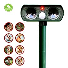Fomei Ultrasonic Animal Repeller Solar Powered Pest Repeller Waterproof Outdoor Repellent with Motion Activated PIR Sensor Repel Dogs Cats Squirrels and more