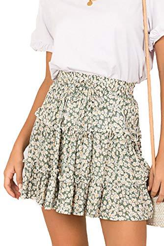 Alelly Women's Summer Cute High Waist Ruffle Skirt Floral Print Swing Beach Mini Skirt Green