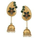 Efulgenz Indian Bollywood 14K Gold Plated Crystal Kundan Pearl Leaf Floral Jhumka Jhumki Earrings Jewelry Set