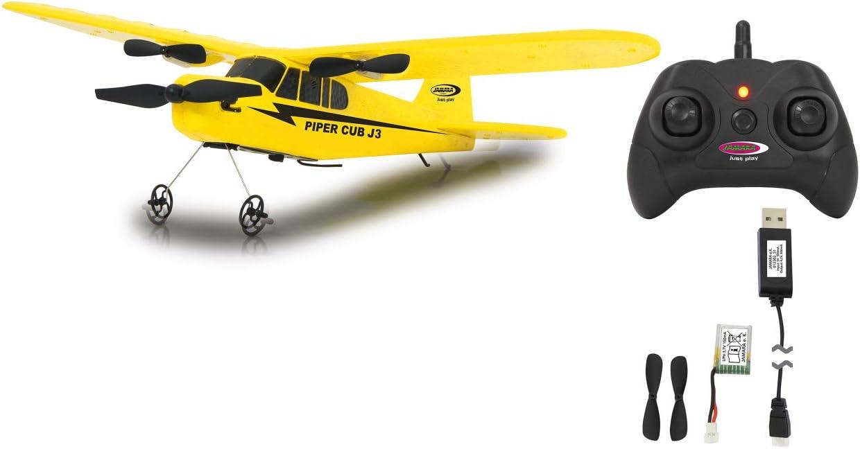 Jamara 012302-Piper J3-Cub Avión 2CH Gyro 2,4G – Multijugador, Giróscopo, Microespuma súper Flexibles, Motores potentes, Batería LiPo con Cambio rápido, Color Amarillo (12302)