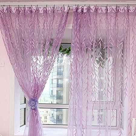 1 m * 2 M Rideaux style rural en saule Motif feuilles Offset Store Imprimé fil pour porte fenêtre en verre decor seguryy