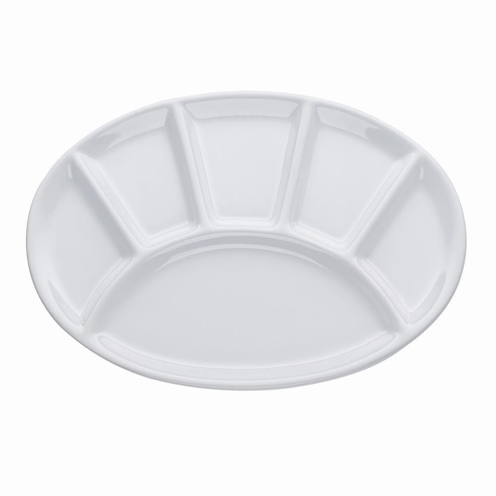 Fondueteller oval 28cm weiß Kela 270045