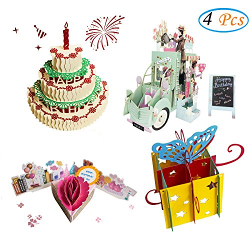 3D Pop Up Birthday Cards Greeting Handmade Birthday Cards & Envelopes for unique birthday gifts (4 Pack )