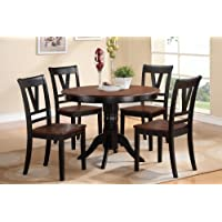 5 pc Viola III collection black finish wood legs and cherry finish wood tops round dining table set with wood top seats