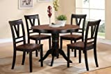 5 pc Viola III collection black finish wood legs and cherry finish wood tops round dining table set with wood top seats Review