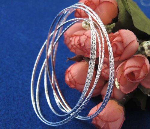 siamsmilethailandshop 6/10pcs Wholesale 925 Sterling Silver Cuff Bracelet Bangle Charm Women Men Gift
