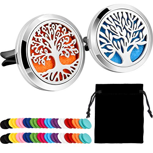 Price comparison product image Tatuo 2 Pieces 316L Stainless Steel Car Aromatherapy Essential Oil Diffuser Air Freshener Vent Clip Locket 48 Pieces Replacement Felt Pad (Tree Patterns)
