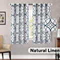 H Versailtex Living Room Linen Curtains Home Decorative Privacy Added Energy Saving Light Filtering Window Treatments Draperies For Short Window 2 Panels Grey And Navy Geo Pattern 52 X 63 Inch