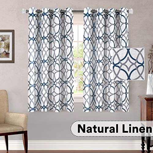 H.VERSAILTEX Living Room Linen Curtains Home Decorative Privacy Added Energy Saving Light Filtering Window Treatments Draperies for Short Window, 2 Panels, Grey and Navy Geo Pattern, 52 x 63 - Inch