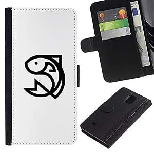 LASTONE PHONE CASE / Lujo Billetera de Cuero Caso del tirón Titular de la tarjeta Flip Carcasa Funda para Samsung Galaxy Note 4 SM-N910 / happy fish