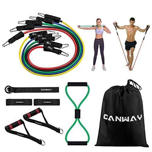 Canway Resistance Bands Set - 12Pcs Include 5 Exercise Bands