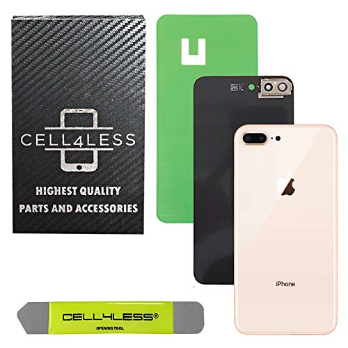 Cell4less Back Glass Cover OEM Battery Door Replacement w/Adhesive, Installed Camera Frame w/Lens & Removal Tool for Apple iPhone 8 Plus (Gold 8+)
