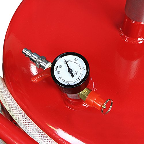 XtremepowerUS 20 Gallon Portable Waste Oil Drain Tank Air Operated Drainage Adjustable Funnel Height with Wheel, Red by XtremepowerUS (Image #3)