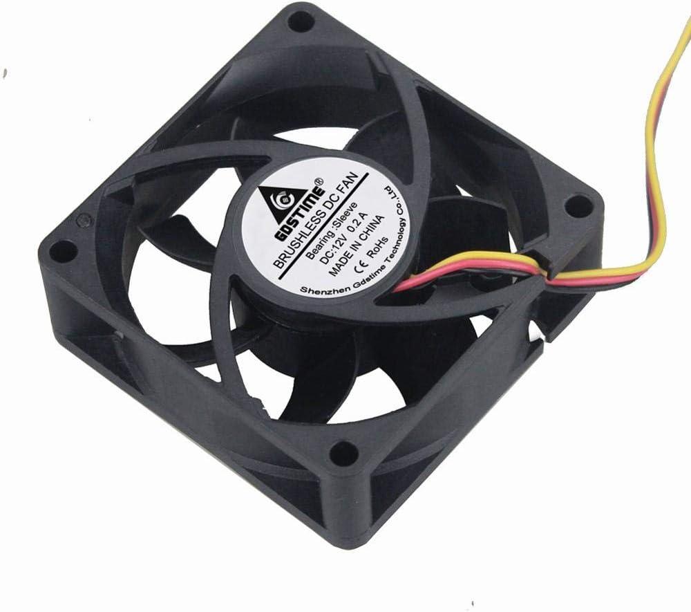 GDSTIME 2PCS 70X70x25mm Fan Cooler 12V 24V 70mm 2pin//3pin Cooling Fan Sleeve