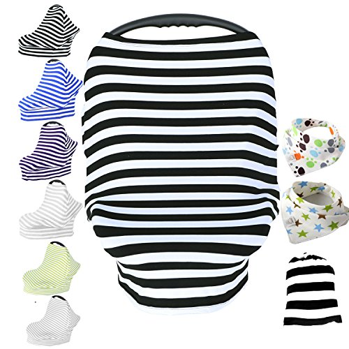 Baby Car Seat Cover & Drawstring Carry Bag Shower Gift Breathable Stretchy Universal 4 in 1 Multi-Use Infant Carseat Canopy Covers Shopping Cart High Chair Stroller