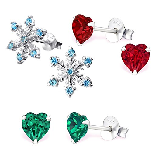 925 Sterling Silver Hypoallergenic Set of 3 Pairs Christmas Set Aqua Blue CZ Snowflake, Emerald Crystal Heart, & Red Crystal Heart Stud Earrings for Girls (Nickel ()
