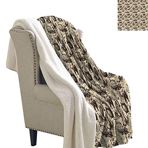 Beihai1Sun Vintage Halloween Blanket Small Quilt Black Cat Motif 60x47 -