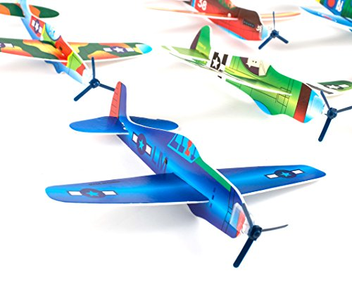 "2 Dozen Party Favors 8"" Glider Planes Fighter Jets - Fun Toys - Bulk Pk of 24 Gliders- Foam Glider Airplane - Fun Gift, Party Favors, Party Toys, Goody Bag Favors, Carnival Prizes, Pinata Filler"