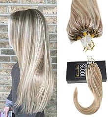 "Sunny 20"" Micro Loop Hair Extensions Real Human Hair Dark Ash Blonde Mixed Bleach Blonde #18/613 Highlight Human Hair Micro Ring Extensions 50G"