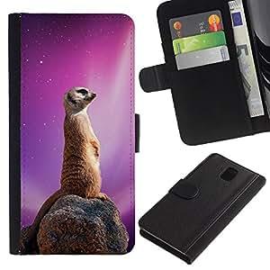 Stuss Case / Funda Carcasa PU de Cuero - Espacio Galaxy Meerkat - Samsung Galaxy Note 3 III